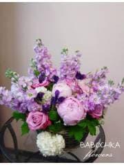 "корзина с цветами ""Пудровые облака"""